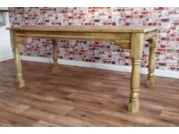 Natural Wood Extending Farmhouse Dining Kitchen Table Painted F&B- Folding, Ergonomic, Space Saving