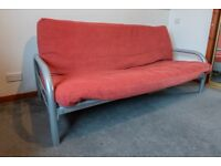 Mexico 2 Seater Futon Sofa Bed - Red/Grey