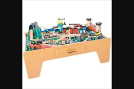 Table top train set with track , Trains and buildings etc