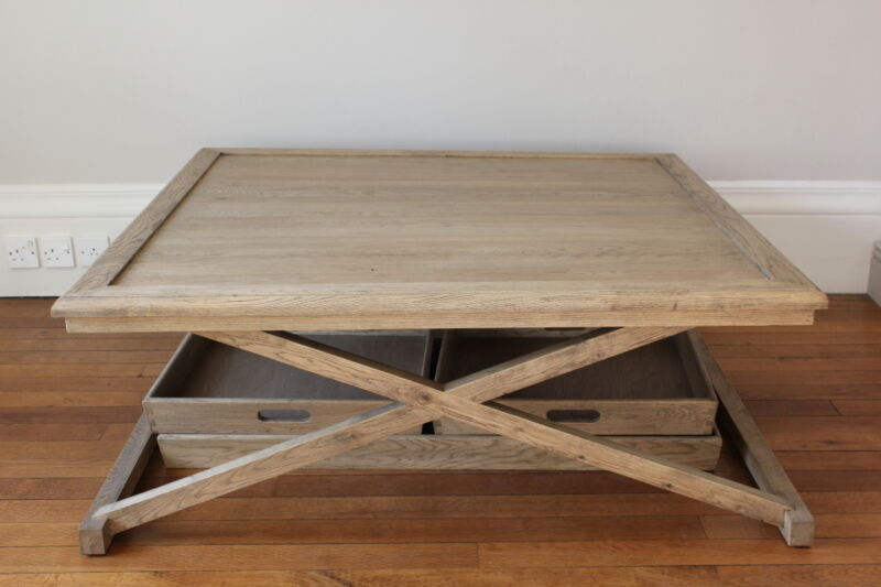 Coffee table shown with the trays removed