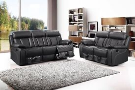 Luxurry Vancouver 3 and 2 seat recliner in bonded leather with pull down drink holder
