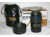 *NOW SOLD* Tamron AF 90mm F2.8 SP Di 1.1 Macro Lens & Hood For Canon Eos Digital Cameras
