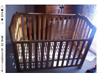 Antique Pine Cot with 3 Position base & teething rails