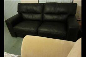 Italian Designer Top Grade Black Leather 3-Seater Sofa/Settee Cost £2,100 new - Bargain!