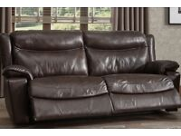 La Ze Boy Beautiful Genuine Englishl Leather , Large 3 Seater Settee Powered Recliner