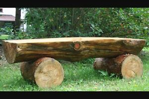 Custom log benches and signs