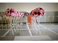 Wedding decorations, venue styling, wedding stage, chair cover hire, plate cutlery glass tablecloth