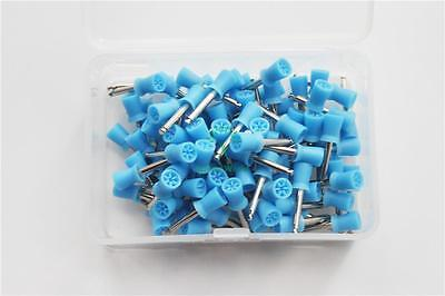 1 Box Dental Silicone Rubber Polishing Cups Blue Flat Latch Type 100pcs