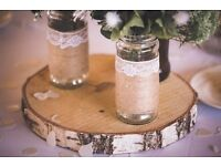 35cm birch log slices x5 - Perfect for wedding table decorations!