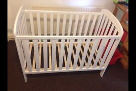 White cot & mattress