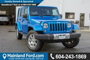 2015 Jeep Wrangler Unlimited Sahara ONE OWNER, LOW KMS, NO AC...