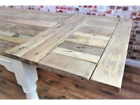 Farmhouse Table Turned Leg - 7-10 FT Rustic Extendable Seats 14-16 Kitchen Dining Painted Finish