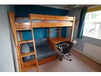 Thuka high sleeper bed with sofa and desk