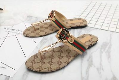 NEW GG Gucci Women's logo Sandals Khaki Color US Size 7.5