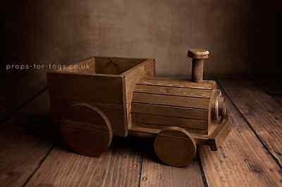 Wooden Train Newborn Baby Photo Prop UK MADE