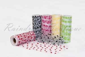 Tutu-Nylon-Tulle-Rolls-6-x-10-yards-POLKA-DOTS-soft-netting-craft-fabric