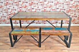 Rustic Industrial Reclaimed Wood Dining Sets - Table Benches Chairs