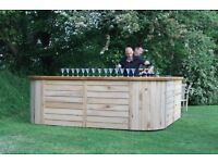 Beautiful Rustic Wooden Bar, Hire, Event, Wedding