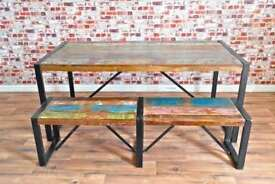 Java Industrial Reclaimed Boatwood Dining Sets - Wide Range of Options