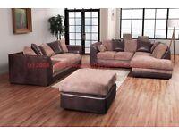 Fashionable Corner Sofa Set. Corner Sofa + 3 Seater Sofa + Pouffe. 3 Items, 1 Incredible Price.