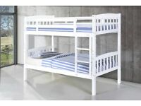 furniture for kids- Single Wooden Bunk Bed Frame in White and Oak Color