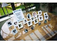 Job lot of picture frames and sign. Wedding decoration