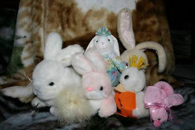 Lot of 6 collectible and adorable bunnies, 1 chick
