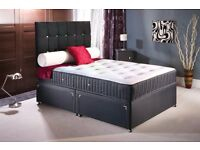 NEW BLACK FABRIC DIVAN DOUBLE /SINGLE AND KINGSIZE BED AND MEMORY FOAM MATTRESS