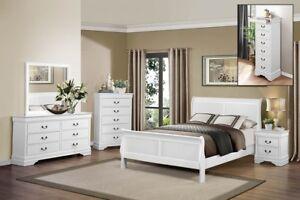 Queen Bedroom Set 8Pc $899 Cherry,Wh,Blk Sleigh Bed $299 #2147