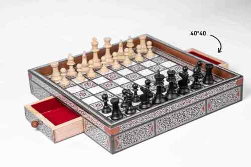 large Syrian handmade inlaid mosaic wooden chess board with folding drawer
