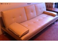 Cream Faux Leather Sofa Bed