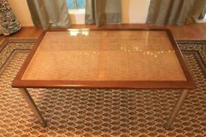 Timber and Chrome Table with Cane Inset. Gorgeous!