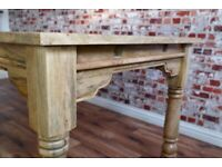 Hardwood Extendable Rustic Farmhouse Kitchen Oak Style Dining Table - Seats Up To 12