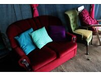 FREE art deco vintage style red sofa and armchairs good condition