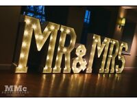 4ft illuminated Mr&Mrs letters, candelabra, candy cart, chair covers and sashes