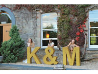 Wedding, Party, Letters, K & M, Gold, Glitter