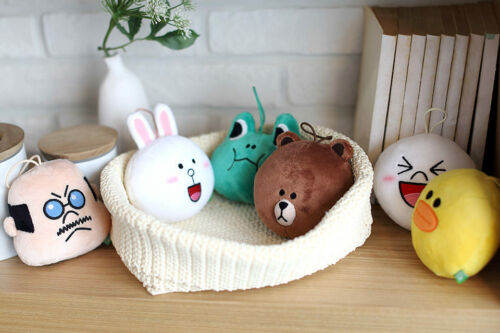 "LINE FRIENDS Characters Velboa Head Plush Toy Ornament Face Doll 4"", 1 Set of 6"