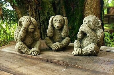 Vintage 3 Wise Monkeys Outdoor Garden Animal Statues Ornament