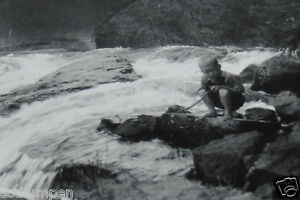 Wow vintage 3 5 black white photograph kid cane pole for Fishing poles wow