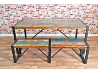Rustic Industrial Reclaimed Dining Sets - Table Benches Chairs