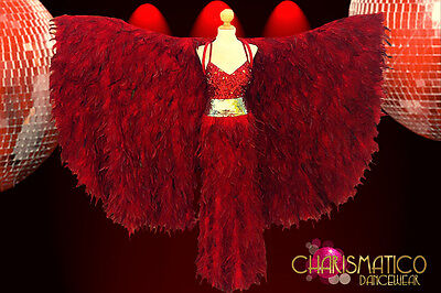 CHARISMATICO Exotic red feather wing-cape with matching sequin and feather gown