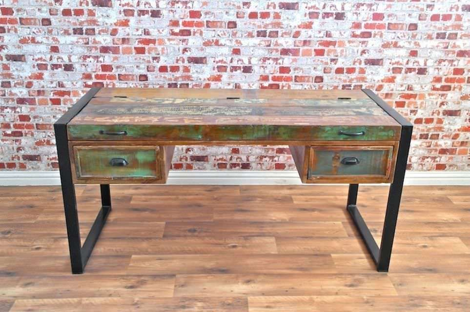 Java Rustic Salvaged Boatwood Industrial Office Desk with