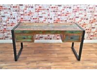 Java Rustic Salvaged Boatwood Industrial Office Desk with Laptop Storage - Brand New