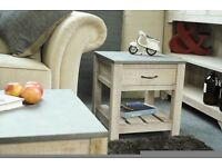 Rough Sawn One Drawer Low Side Table with Concrete Effect Top - New - Free Delivery