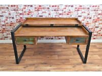 Rustic Industrial Office Desk made from Reclaimed Boatwood Laptop Storage