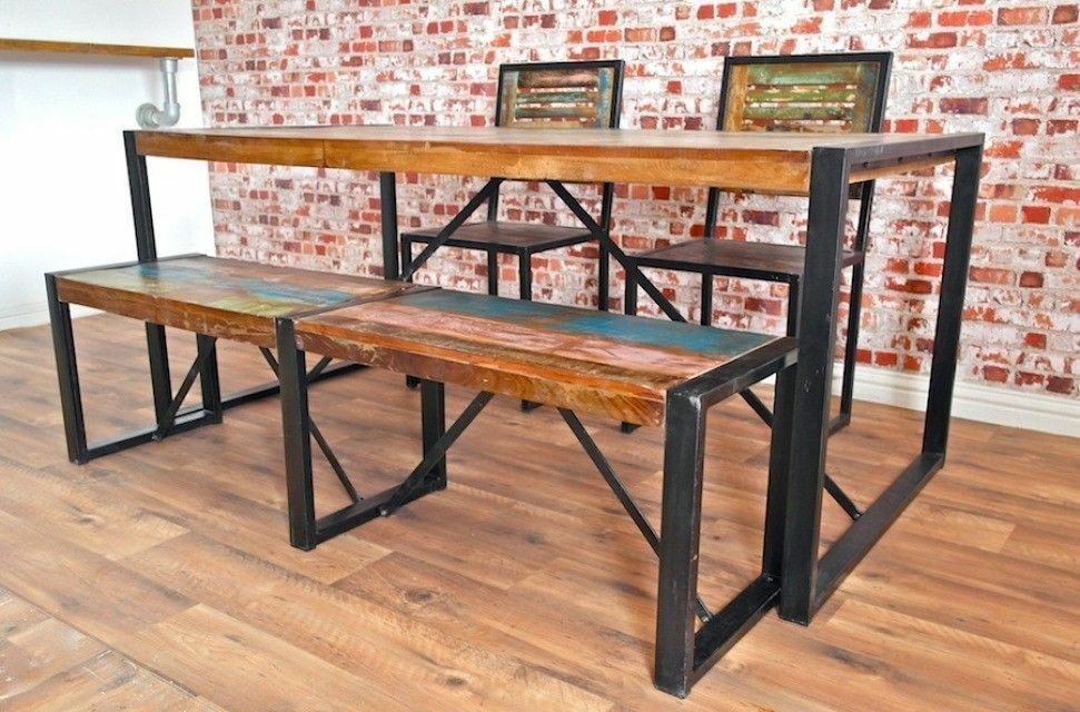 Reclaimed Industrial Boat Wood Dining Sets