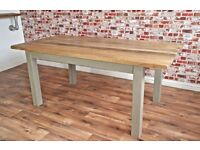 Rustic Hardwood Oak Slab-Style Dining Table Six-Seater - Limited time SALE until end of week
