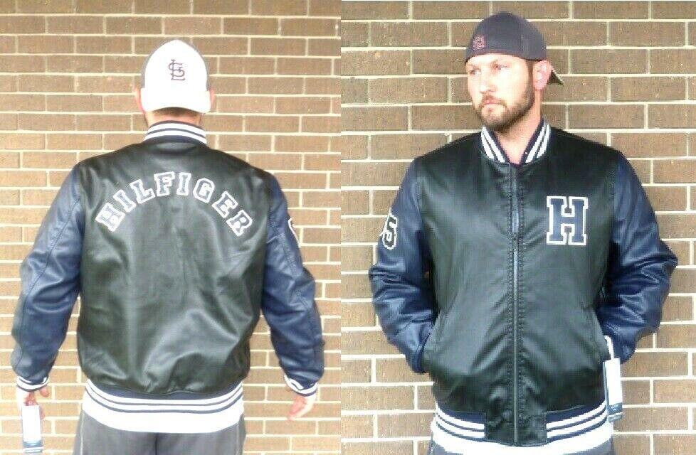 Tommy Hilfiger NAVY & BLACK Faux Leather Varsity Letterman B