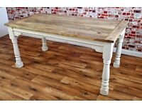 Kitchen Dining Painted Finish Farmhouse Table Turned Leg - 7-10 FT Rustic Extendable Seats 14-16