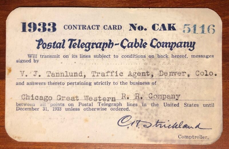 Postal Telegraph - Cable Company 1933 Railroad Pass Chicago Great Western RR Co